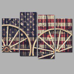 National Flag with Wheels Frameless Printed Canvas Art Print 4PCS -