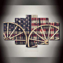 National Flag with Wheels   Frameless Printed Canvas Art Print 5PCS -