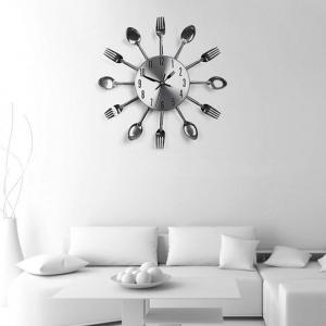 Stainless Steel Knife and Fork Spoon Restaurant Wall Clock Home Decoration -