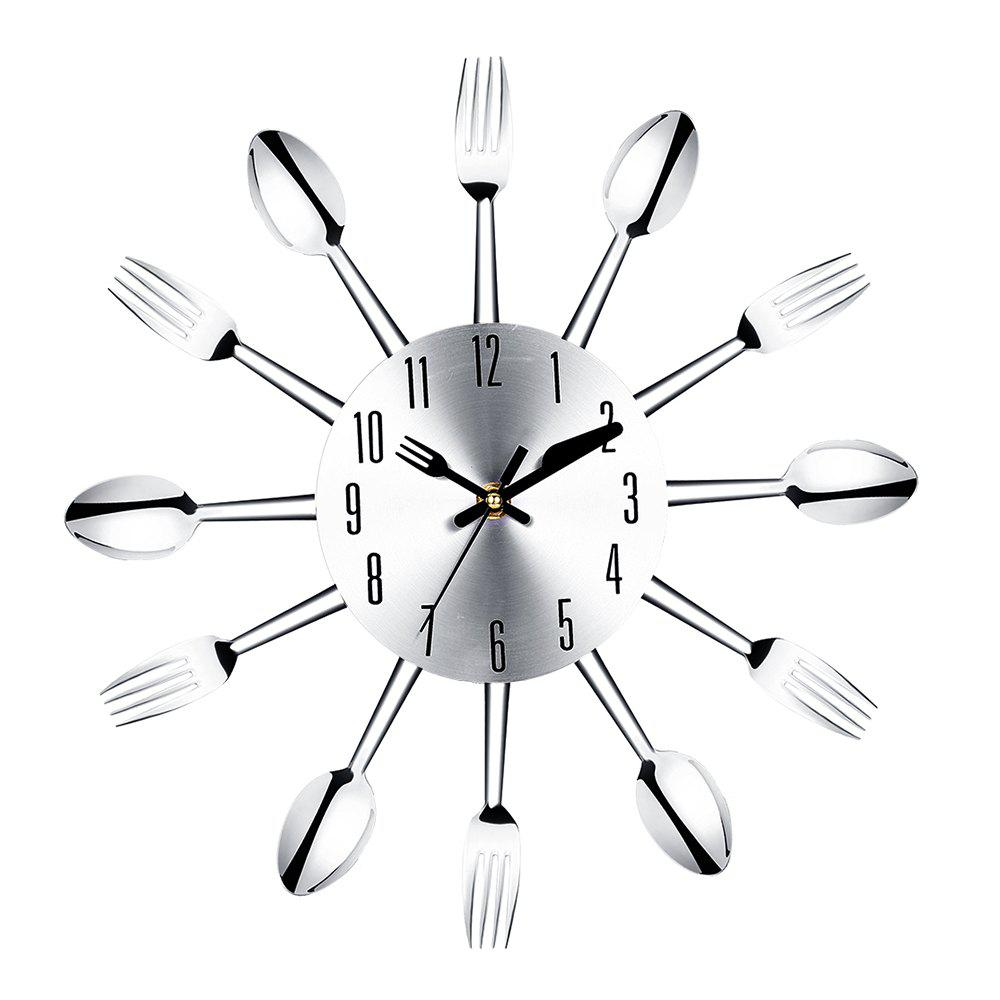 Affordable Stainless Steel Knife and Fork Spoon Restaurant Wall Clock Home Decoration