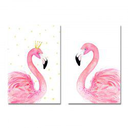 42-XDZS - 252-254 2PCS Romantic Pink Flamingo Print Art -