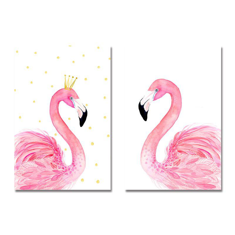Store 42-XDZS - 252-254 2PCS Romantic Pink Flamingo Print Art