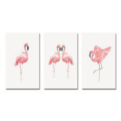 42-XDZS - 246-247-248 3PCS Romantic Pink Flamingo Print Art -