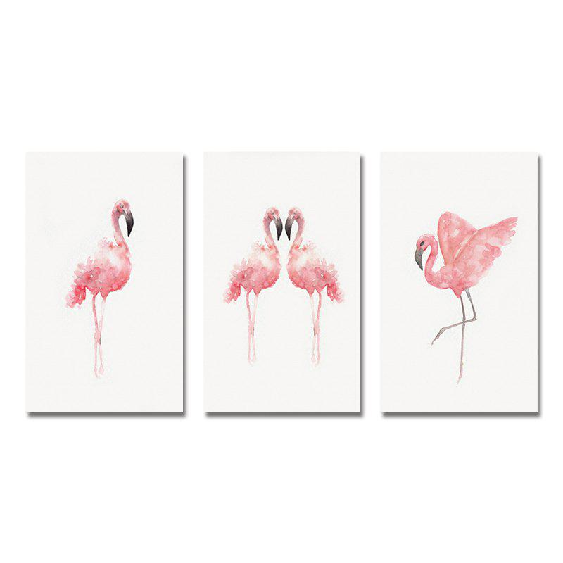 Best 42-XDZS - 246-247-248 3PCS Romantic Pink Flamingo Print Art