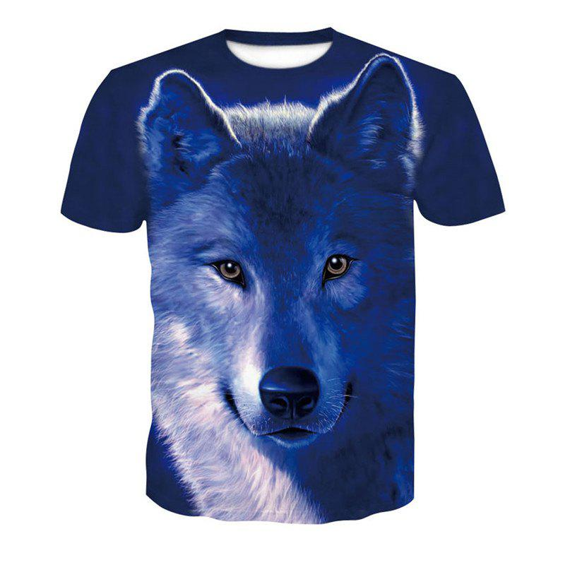 5bc61e5a5 27% OFF] 3D Wolves Print Men's Casual Short Sleeve Graphic T-shirt ...