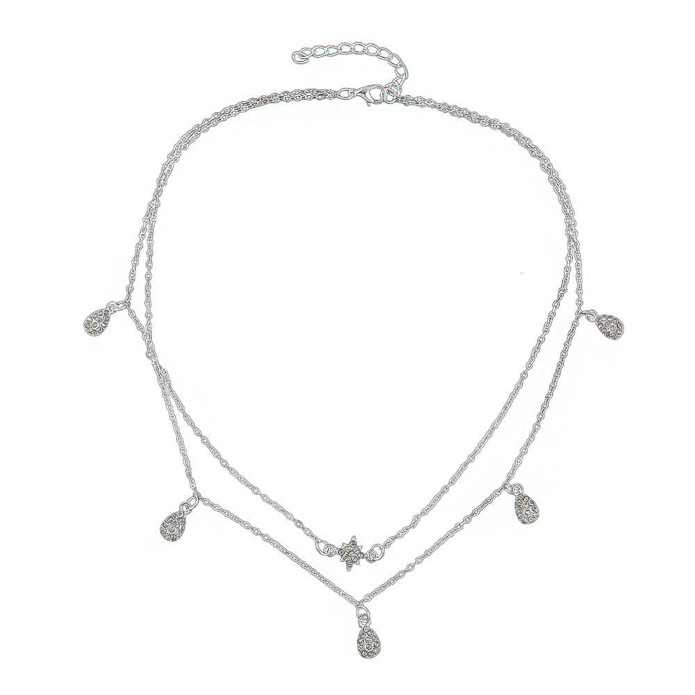 Unique Rhinestone Star Wate Drop Charm Necklace