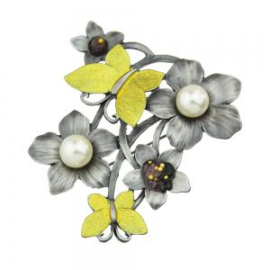 Gunblack Color Metal with Yellow Enamel Flower Butterfly Brooch -