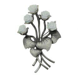 Gunblack Metal White Pink Resin Flower Brooch -