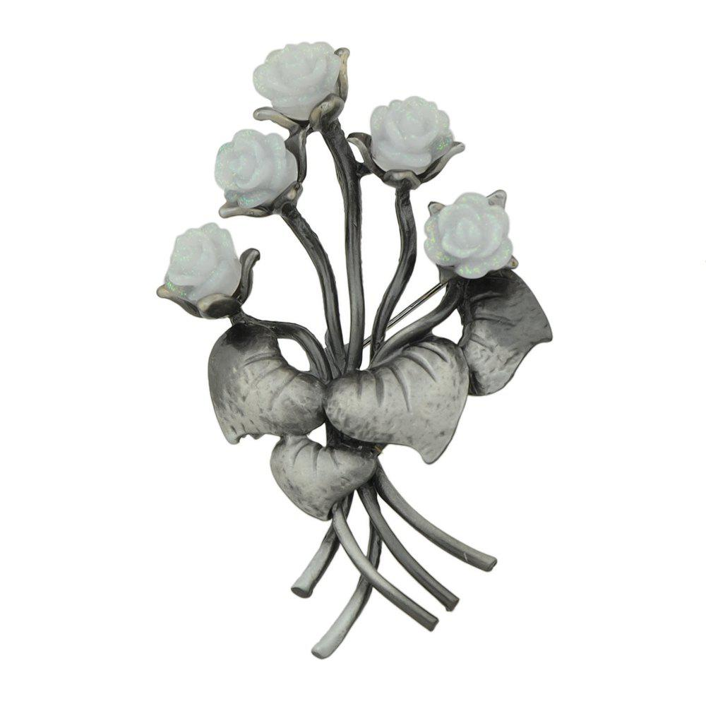 Store Gunblack Metal White Pink Resin Flower Brooch