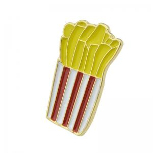 Gold-color with Colroful Enamel French Fries Brooch -