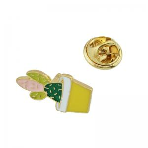 Gold-color with Colorful Enamel Cactus Potted Plant Brooches -