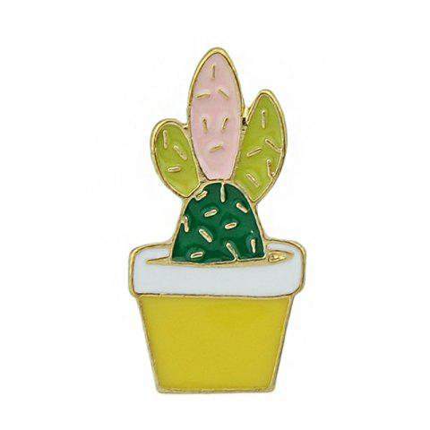 Cheap Gold-color with Colorful Enamel Cactus Potted Plant Brooches