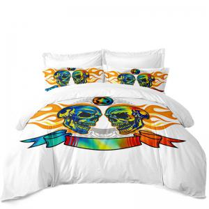 AS111-A Flame Skeleton Fear Personality Decorative Pattern Bedding Set -