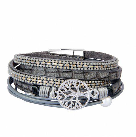 Discount Fashion Accessories Multi - Layer Cowhide Life Tree Magnet Clasp Bracelet