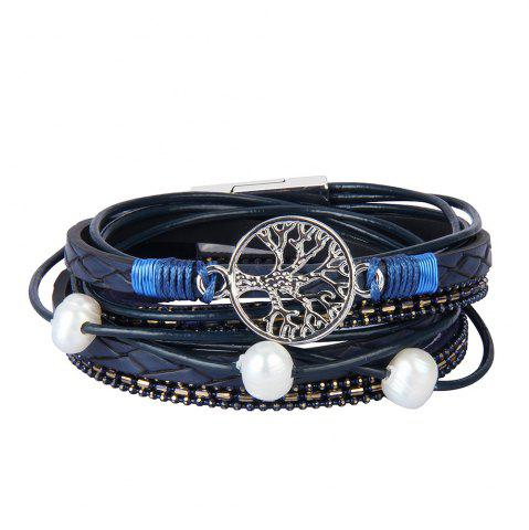 Affordable Fashion Accessories Multi - Layer Cowhide Life Tree Magnet Clasp Bracelet