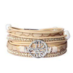 Fashion Accessories Multi - Layer Cowhide Life Tree Magnet Clasp Bracelet -