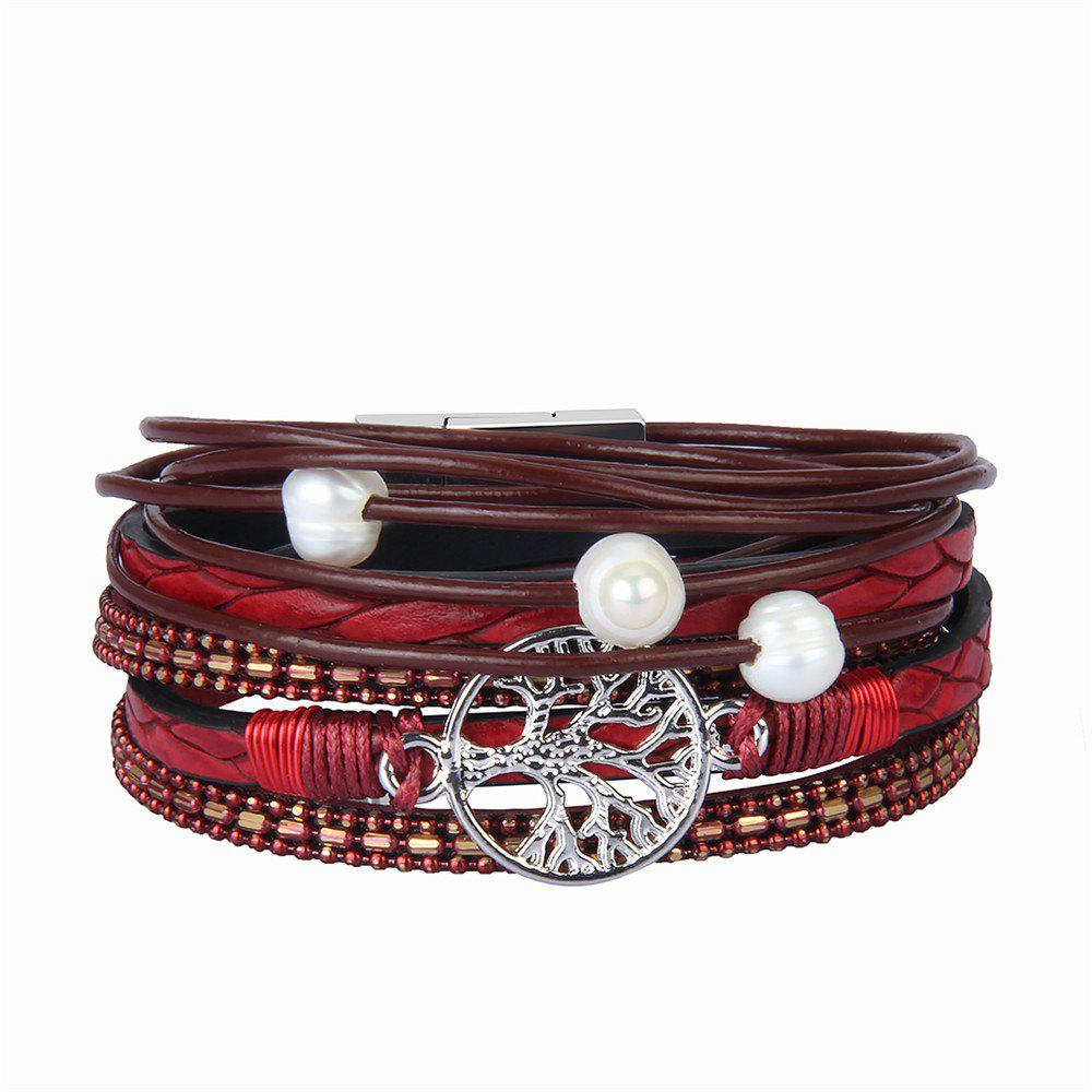 Chic Fashion Accessories Multi - Layer Cowhide Life Tree Magnet Clasp Bracelet