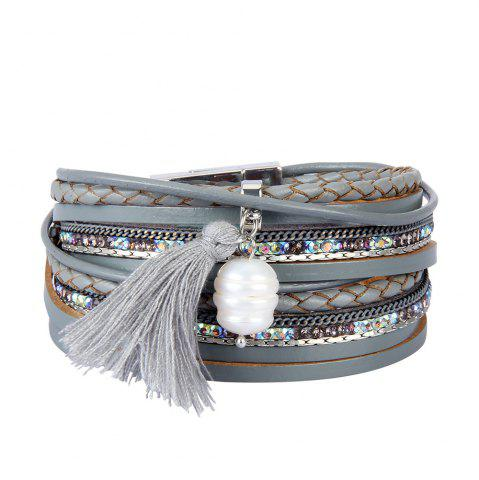 Affordable Fashion Accessories Multi - Layered Leather Tassel Bracelet