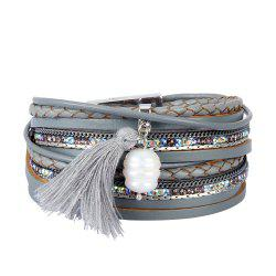 Fashion Accessories Multi - Layered Leather Tassel Bracelet -