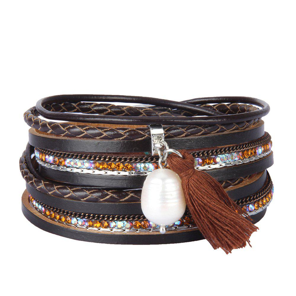 Discount Fashion Accessories Multi - Layered Leather Tassel Bracelet