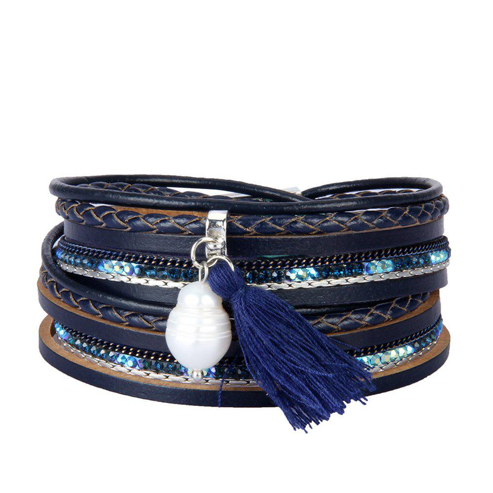 New Fashion Accessories Multi - Layered Leather Tassel Bracelet
