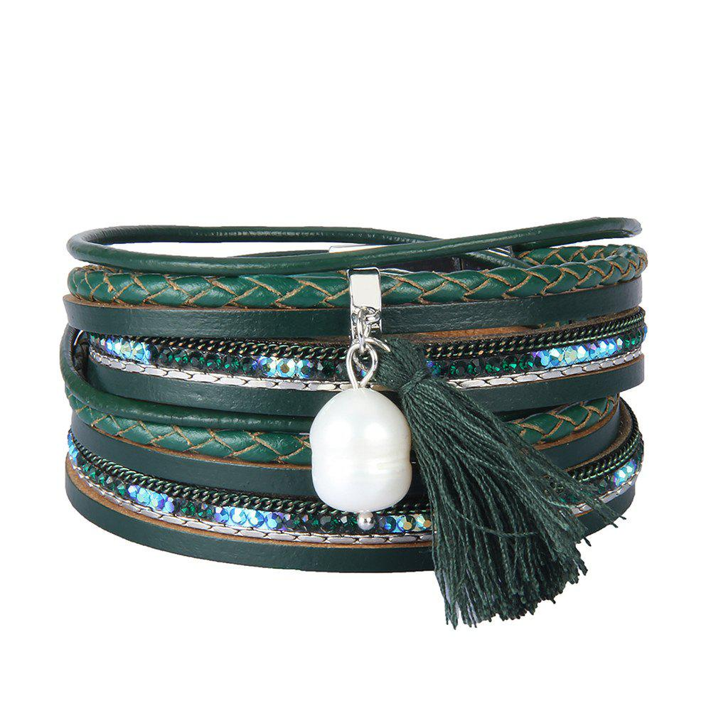 Shop Fashion Accessories Multi - Layered Leather Tassel Bracelet