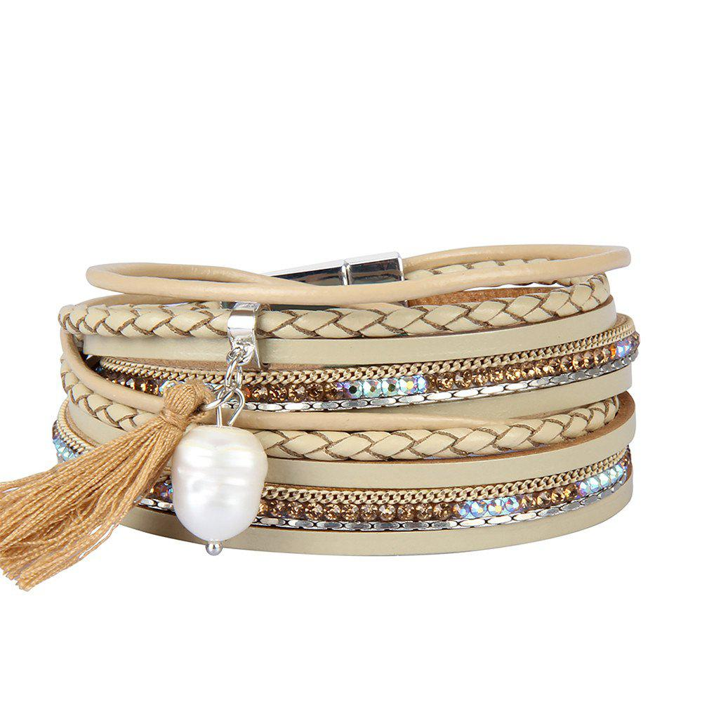Hot Fashion Accessories Multi - Layered Leather Tassel Bracelet