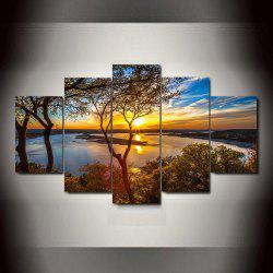 Waterside Sunset  Frameless Printed Canvas Art Print 5PCS -