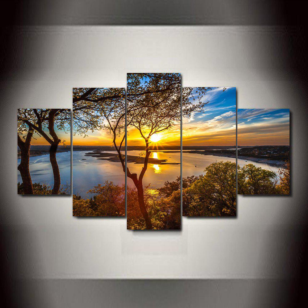 Chic Waterside Sunset  Frameless Printed Canvas Art Print 5PCS