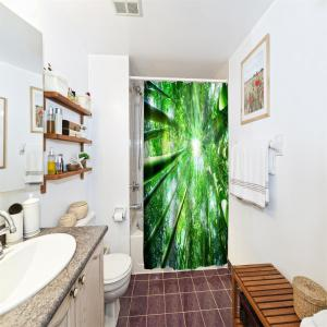 Bamboo Sun Shade Water-Proof Polyester 3D Printing Bathroom Shower Curtain -