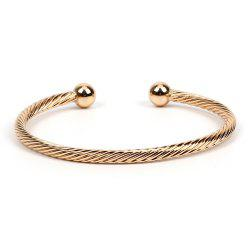 Yellow Copper Embossed Open Personality Bangle -