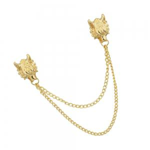 Gold Silver Color with Chain Dragon Head Brooch -