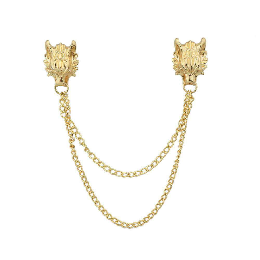 Affordable Gold Silver Color with Chain Dragon Head Brooch
