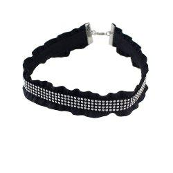 Punk PU Rhinestone Choker Necklace -