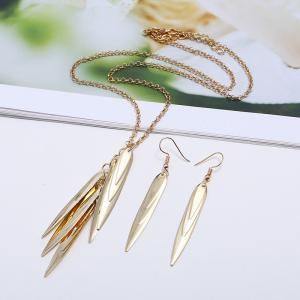 Exaggerated Big-Name Jewelry Multi-Leaf Metal Willow Necklace Earrings -
