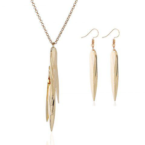 Best Exaggerated Big-Name Jewelry Multi-Leaf Metal Willow Necklace Earrings