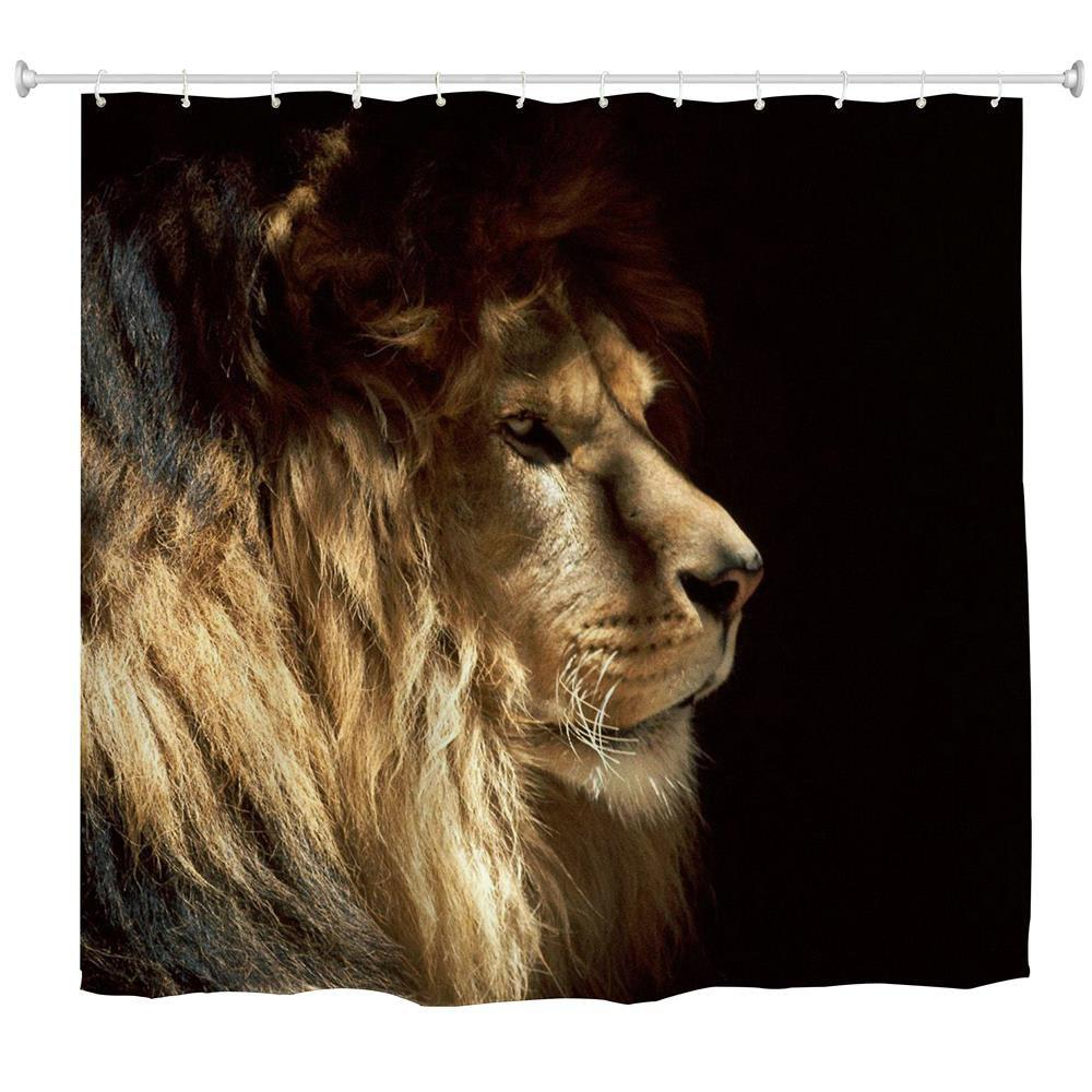 Lion King Water-Proof Polyester 3D Printing Bathroom Shower Curtain