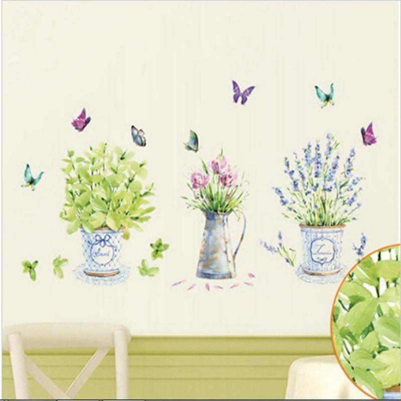 Buy Home Decor Flowers Potted Butterfly Kitchen Window Glass Bathroom Wall  Stickers