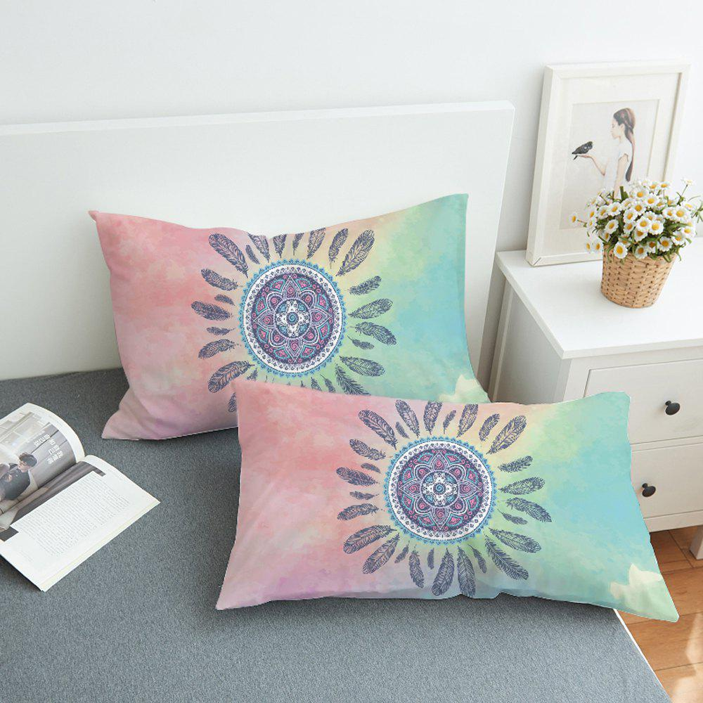 Fancy 2pcs Feathers Decorative  Pillow Case