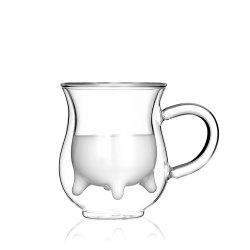 Creative Styling with Handle Cute Double Glass Coffee Cup 1pcs -