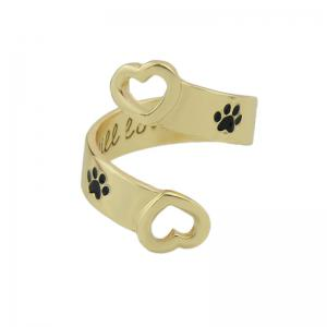 Black Paw and Letter Geometric Finger Ring -
