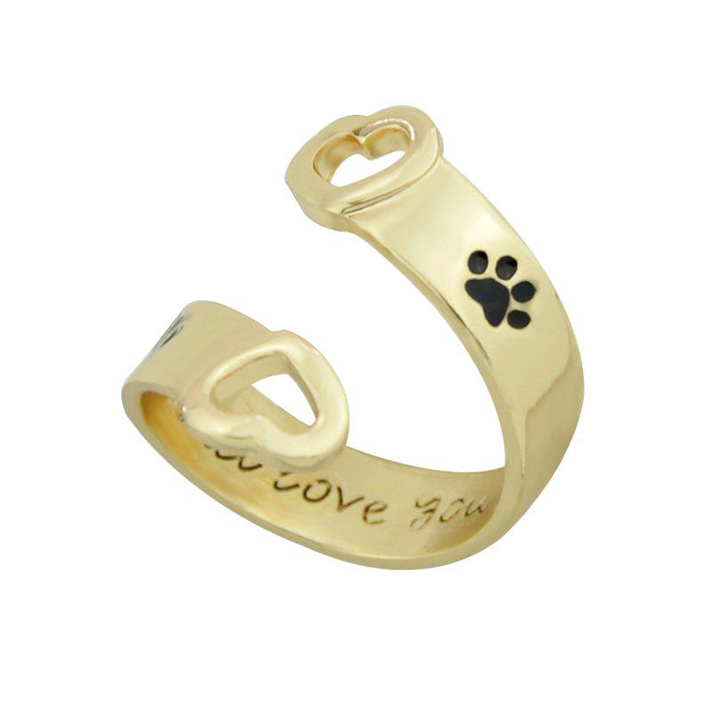 Affordable Black Paw and Letter Geometric Finger Ring