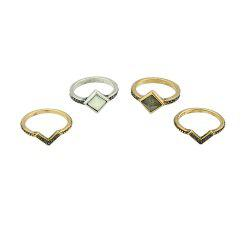 4 Pcs Antique Gold Silver Color with Stone Rings -