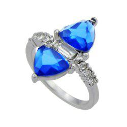 Silver Color with Blue Crystal Rhinestone Ring -