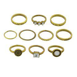 10 Pcs Antique Gold Silver Color with Rhinestone Stone Rings -
