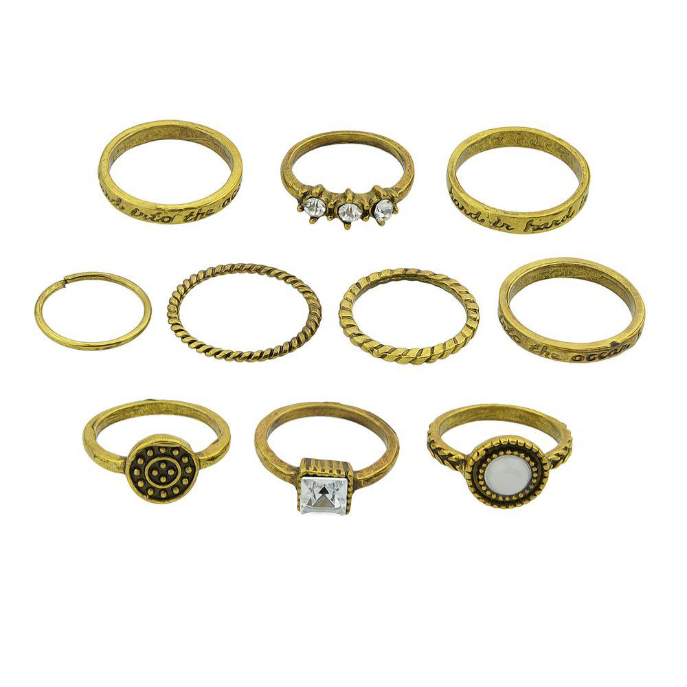 Cheap 10 Pcs Antique Gold Silver Color with Rhinestone Stone Rings