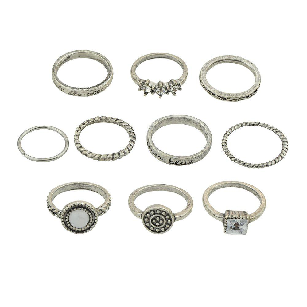 Sale 10 Pcs Antique Gold Silver Color with Rhinestone Stone Rings