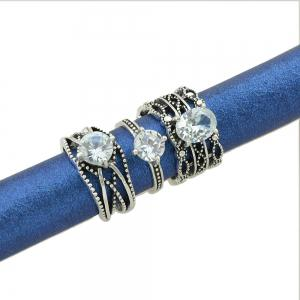 3 Pcs Antique Silver Color with Rhinestone Rings -