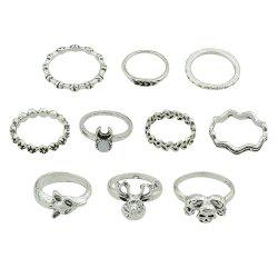 10 Pcs Fox Deer Head Leaf Flower Skeleton Rings -