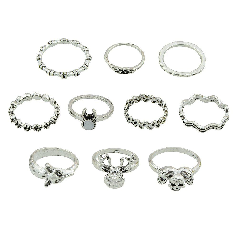Buy 10 Pcs Fox Deer Head Leaf Flower Skeleton Rings